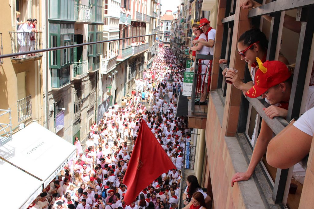 Running of the Bulls Pamplona balcony