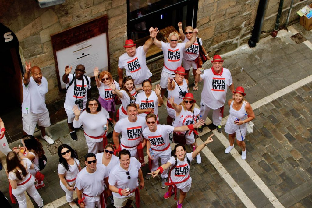 Running of the Bulls Pamplona in the alley