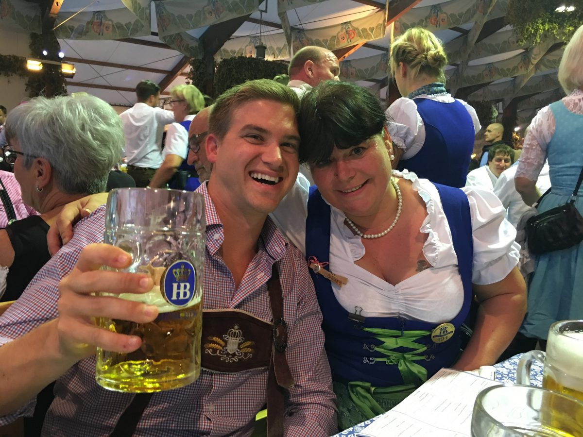 Our server at the Hofbrau Tent, 2016