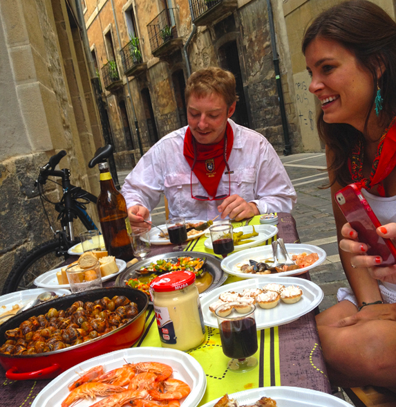 Spanish cuisine served during the Running of the Bulls in Pamplona