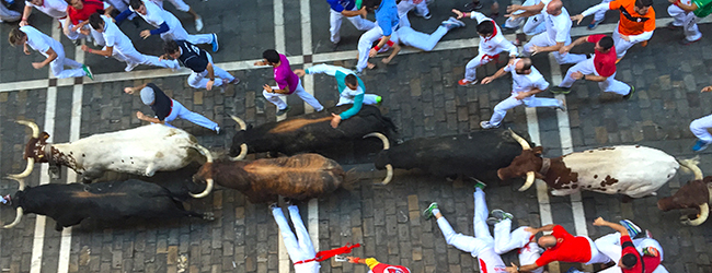 Watch the Running of the Bulls from our Balcony
